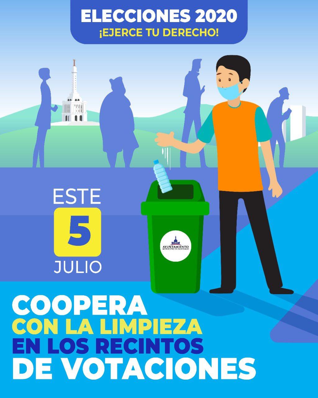 Alcaldía Santiago llama población a cooperar con limpieza en recintos electorales cuando acudan a votar