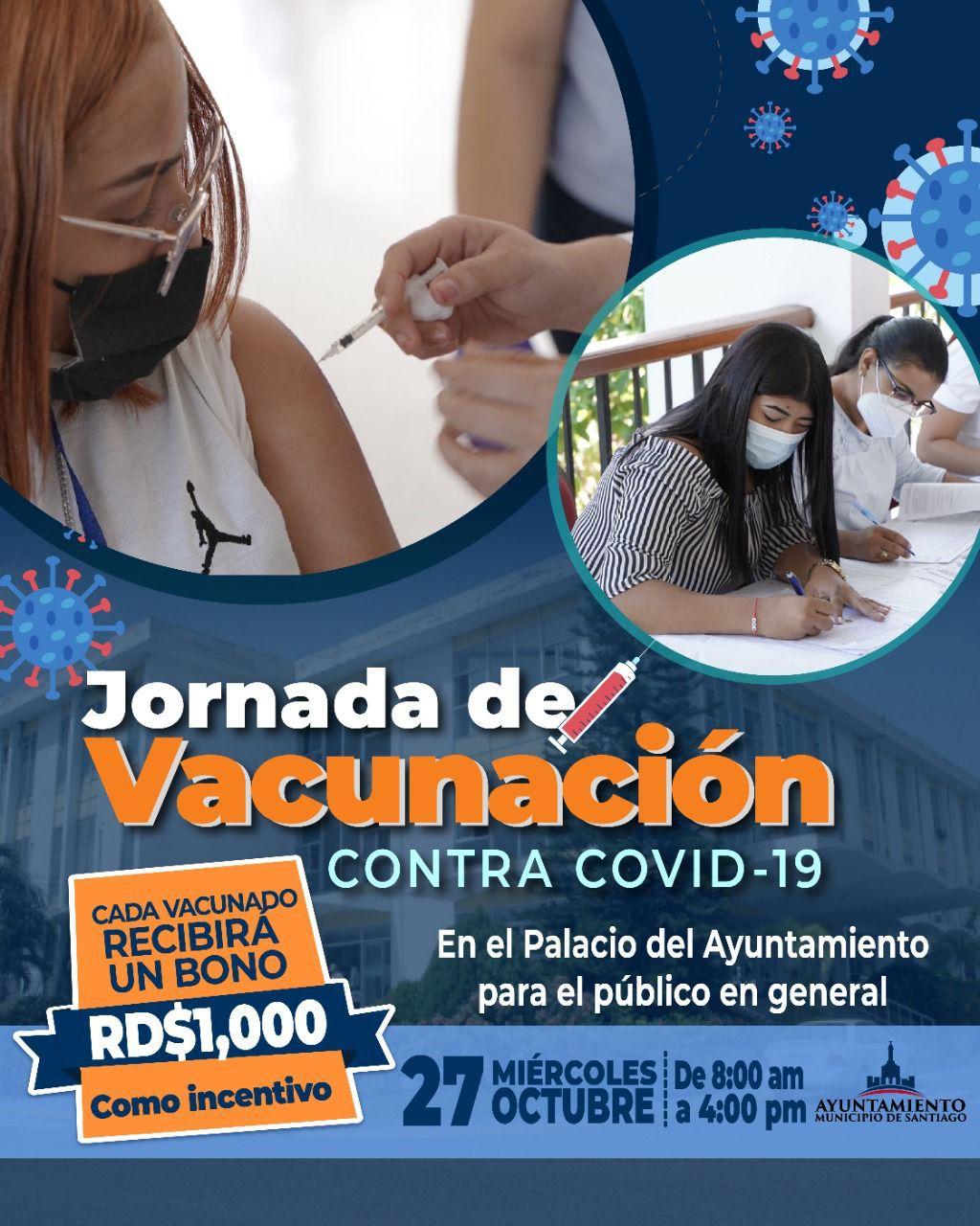 Lee más sobre el artículo Ayuntamiento de Santiago anuncia jornada de vacunación contra Covid-19 con bono de mil pesos como incentivo